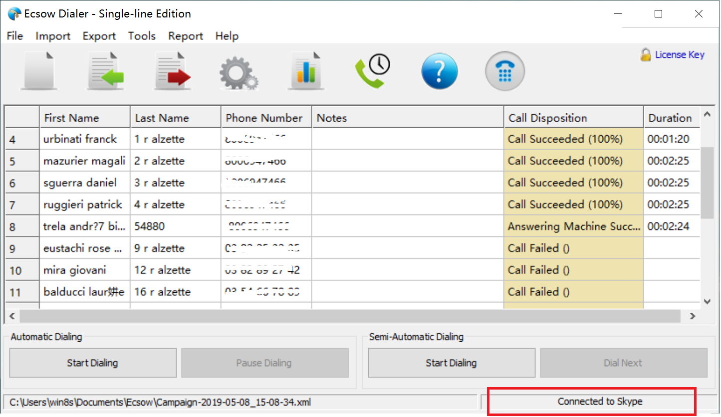 dialer connect to the Skype